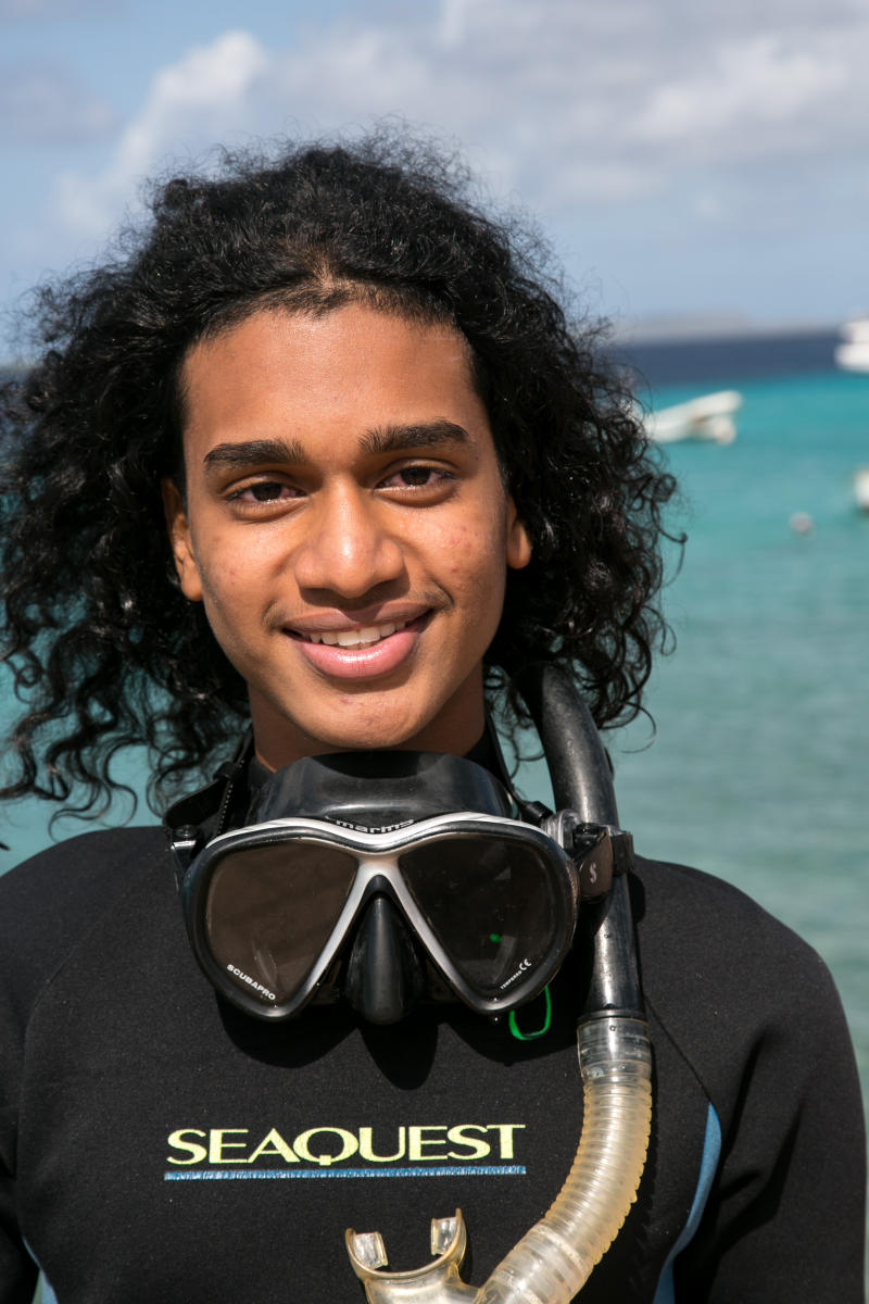 A young local diver, Bonaire Island, Dutch Antilles