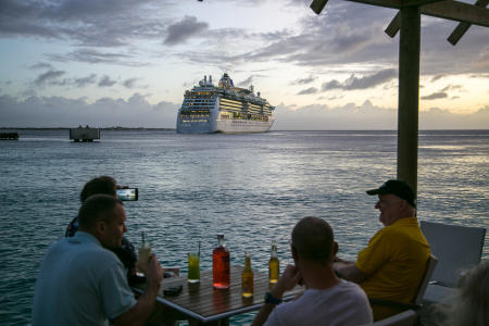 Cruise ship leaving Kralendijk, Bonaire Island, Dutch Antilles