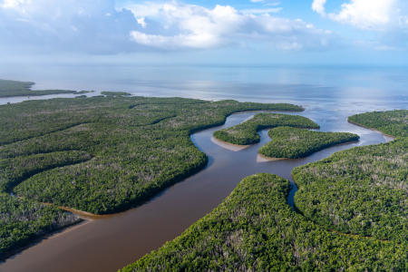 Flyover of the Everglades Park Area.   Fresh and salt water mix in Ponce de Leon Bay.