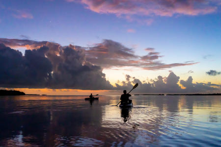 Kayaking at sunset in the Florida Bay, Everglades National Park.  Near Flamingo.